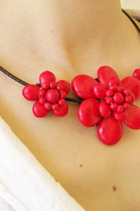 Floral choker, 'Red Beauty' Red Stone Beads Necklace with Waxed Cotton, Adjustable Size, Thailand Handmade Jewelry. JN1001-RE