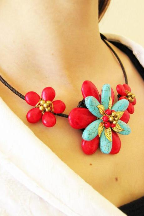 Flower Choker, 'Beauty' & Red Beaded Stone Necklace with Waxed Cotton, Adjustable Size, Thailand Handmade Jewelry. (JN1002-RE)
