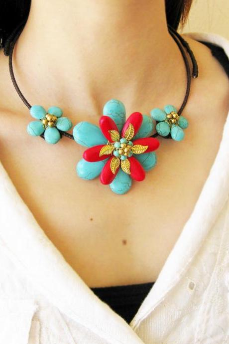 Flower Choker, 'Beauty' & Turquoise and Red Beaded Stone Necklace with Waxed Cotton, Adjustable Size, Thailand Handmade Jewelry. (JN1002-TU)