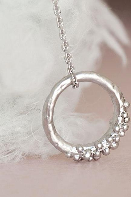 Silver Bubble Hoop Necklace, Eternity Halo Round Circle Charm