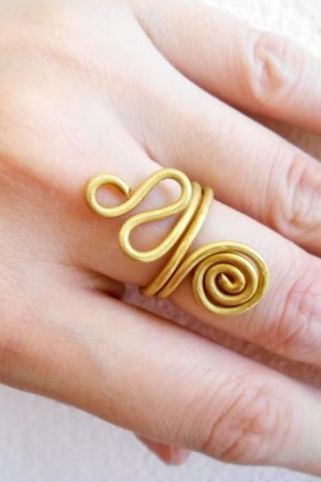 Coil Brass Ring, Fashion Designs - Adjustable Ring, Jewelry Thailand Handmade. (JR1009)