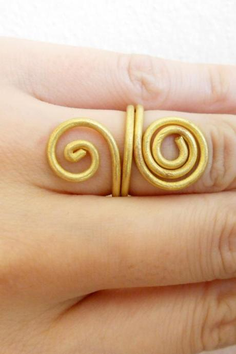 Coil Brass Ring, Fashion Designs - Adjustable Ring, Jewelry Thailand Handmade. JR1010