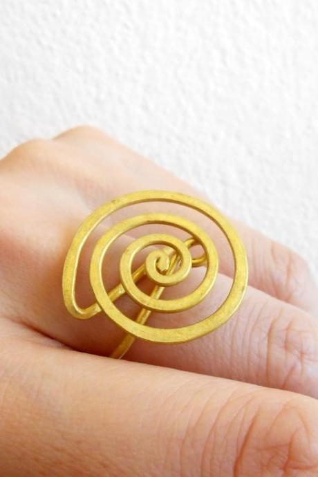 Coil Brass Ring, Fashion Designs - Adjustable Ring, Jewelry Thailand Handmade. JR1011