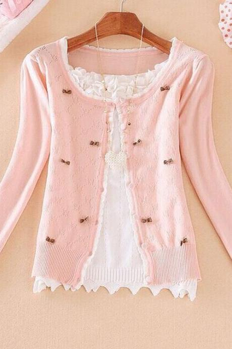Bow sweater knit cardigan AA827C