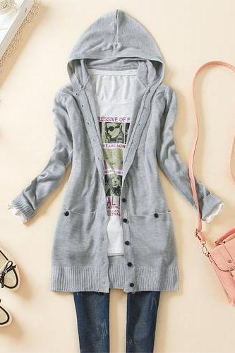 Hooded long-sleeved knit cardigan AA827H