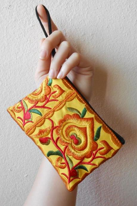 Gold Yellow Cotton Flower Colorful purse Embroidery Chinese Hmong Hilltribe Thailand. (KP1051-GOYE)