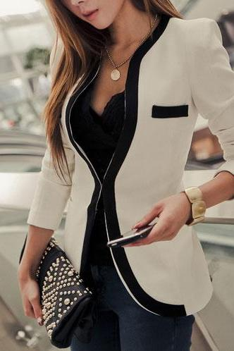 Contrast Color Slim Fit Business Suit Short Jacket Coat [Grxjy561098]