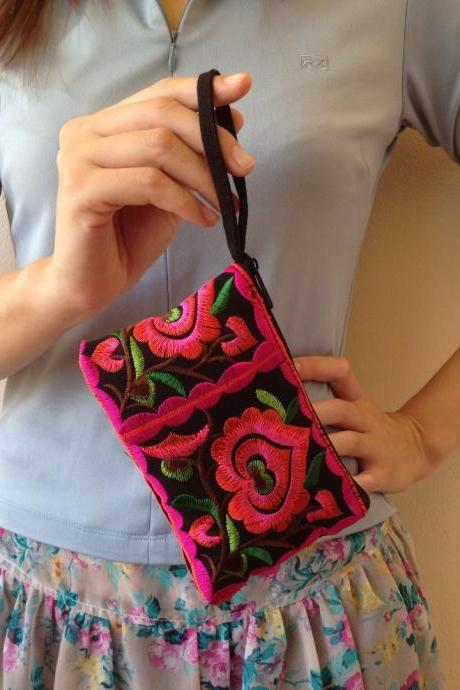 Pink Black Cotton Flower Colorful purse Embroidery Chinese Hmong Hilltribe Thailand. (KP1051-PIBK)