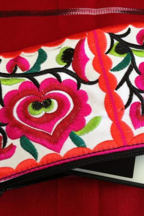 Pink White Cotton Flower Colorful purse Embroidery Chinese Hmong Hilltribe Thailand. (KP1051-PIWH)