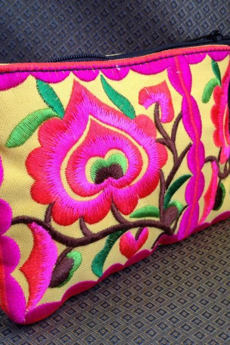 Pink Yellow Cotton Flower Colorful purse Embroidery Chinese Hmong Hilltribe Thailand. (KP1051-PIYE)