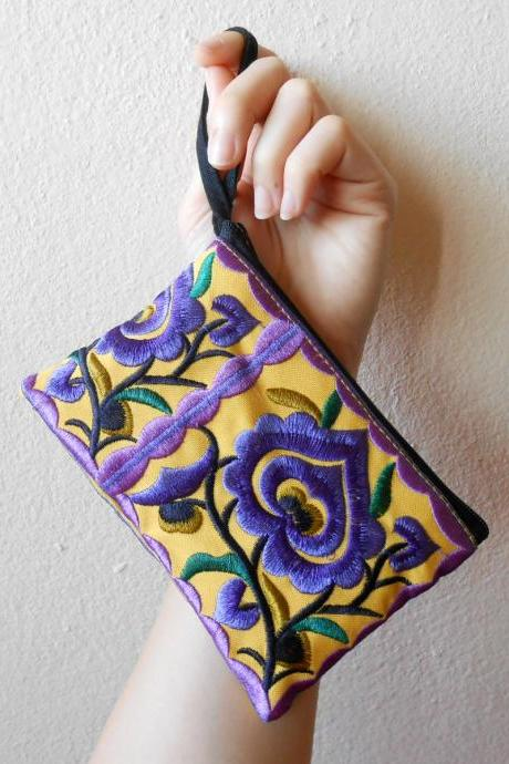 Purple Yellow Cotton Flower Colorful purse Embroidery Chinese Hmong Hilltribe Thailand. (KP1051-PUYE)