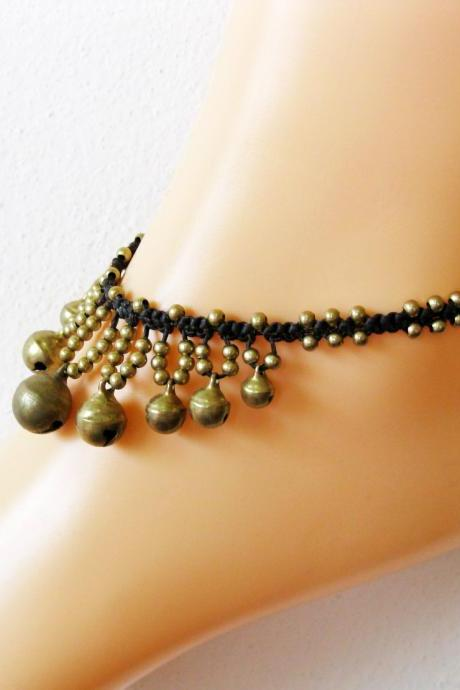 Pretty Brass Bells Anklets, Brass Beads, Adjustable Size, Wax String Handmade Jewelry. (JA1008)