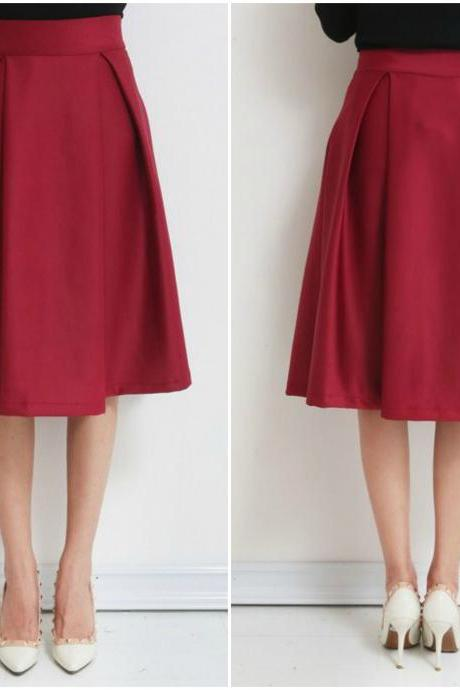 Red High Rise Knee Length A-Line Skirt