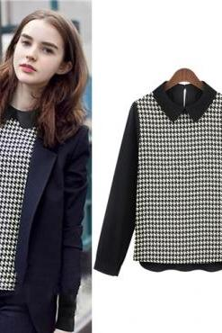 New Style Peter Pan Collar Long Sleeve Plaid Blouse