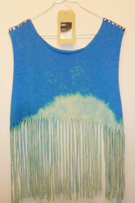Vintage Dip Tie Dye Fringe Tassle Crop Top Vest Studded Spike Shoulders Oversize