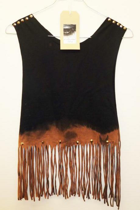 Vintage Dip Tie Dye Fringe Tassle Ladies Top Studded Spike Shoulders Summer Upcycled Oversize Vest