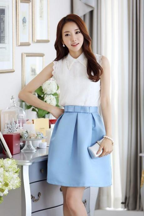 Azure Pleated Bow Design Skirt