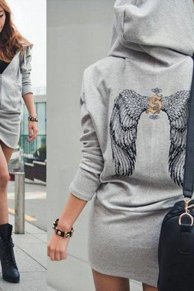 Angel Wings Printed Mini Hoodie Sweatshirt