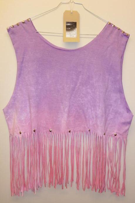 Vintage Dip Tie Dye Fringe Tassle Ladies Summer Crop Top Vest Studded Spike Shoulders Oversize