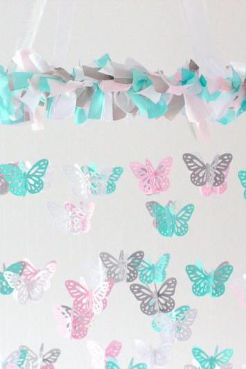 Pink, Aqua, White & Gray Nursery Butterfly Mobile