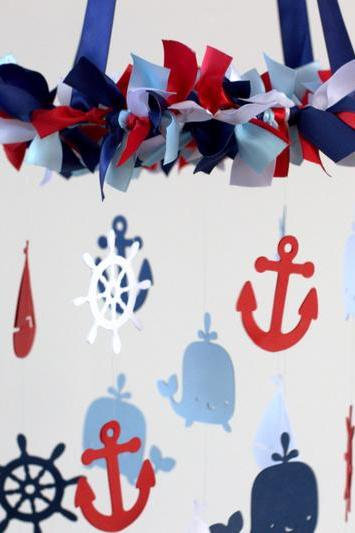 Nautical Nursery Mobile in Navy, Baby Blue, Red & White- Baby Mobile, Crib Mobile, Baby Shower Gift