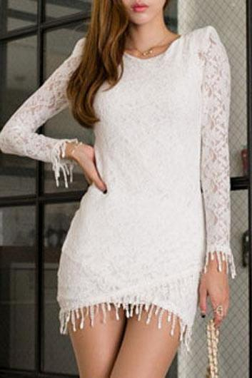 Sexy Round Neck Long Sleeve Dress with Tassels - White