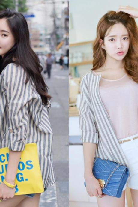 *Free Shipping* Stipped Stripes Jacket Outerwear Outer Brown Grey White Autumn Fall Spring Cardigan Jumper Stylish Casual Women Natural Fit 438732660 쥴리