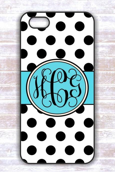 Monogrammed Iphone Iphone 4/4S case -Black Polka Dots Personalized Hard Cases for iphone 4/ 4S