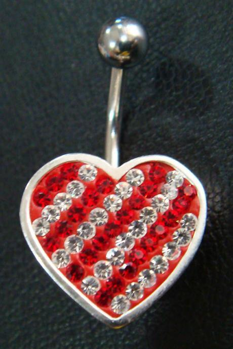 14g Cute heart love belly rings navel ring bar button body piercing jewelry