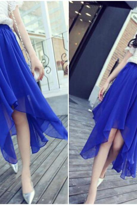Gorgeous Chiffon Royal Blue Irregular Hem Skirt