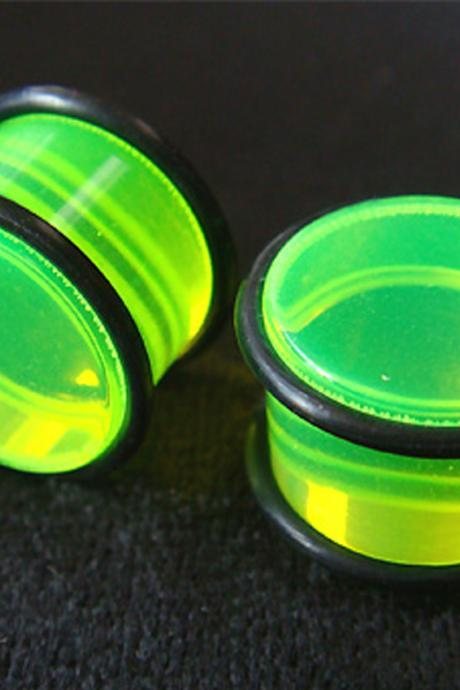 One Pair 5/8' 16mm Green Ear Plug Rings Earrings Earlet Lobe body piercing O-Rings