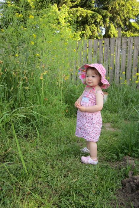 Little Pink Floral Sun Dress, 12 months, Ready to Ship, One of a Kind, Free Shipping