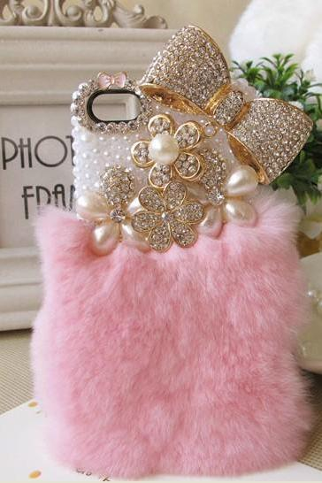 bow rabbit fur case pearl case iphone 4 case iphone 4s case iphone 5 case iphone 5s case