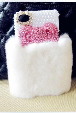 bow fur case pearl case iphone 4 case iphone 4s case iphone 5 case iphone 5s case