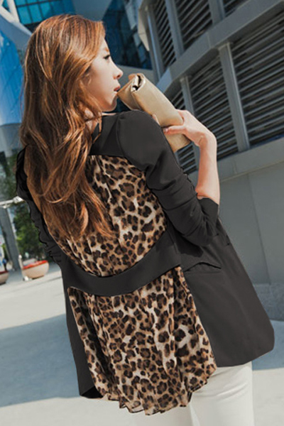 Cheap New Style Long Sleeves Patchwork Leopard Print Black Chiffon Blazer
