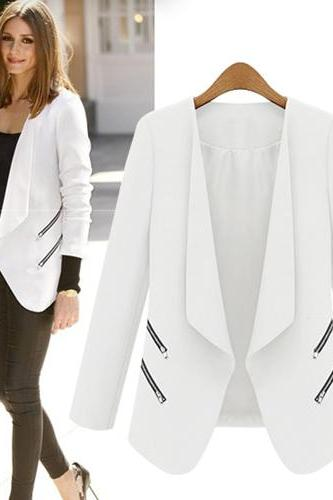 Cheap New Style Long Sleeves Zippered Pockets Design White Blazer