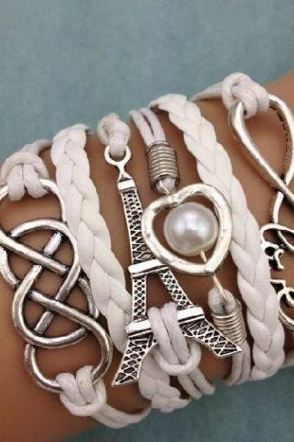 SALE! Free shipping NEW Infinity Love Heart Tower Friendship Antique Silver Leather Charm Bracelet