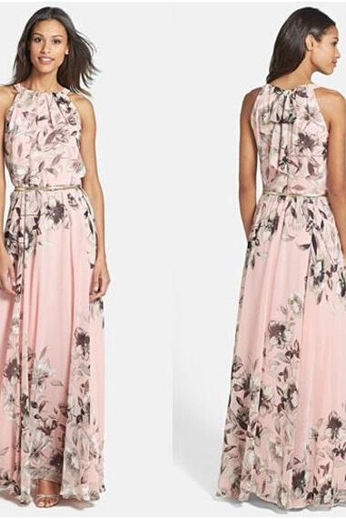 Long Sexy Sleeveless Summer Soft Floral Maxi Chiffon Print Dress - Available In 2 Colors (Size S, M, L, XL)