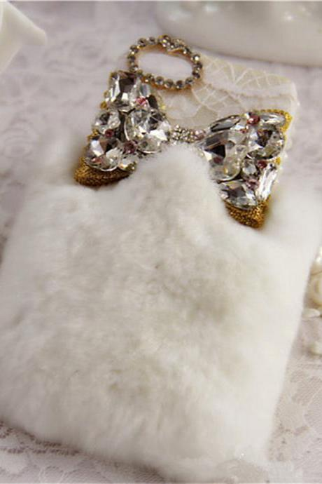 best quality rabbit fur case lace bow case iphone 4 case iphone 4s case iphone 5 case iphone 5s case