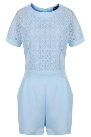 Light Blue Lace Short Sleeved Romper Featuring Crew Neckline