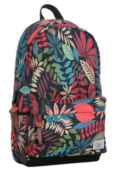 Fashion Leaves Printed Canvas Backpack
