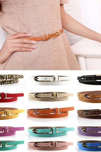 Free shipping Fashion Women Lady Multicolor Waistband PU Leather Thin Skinny Belt Buckle Waist