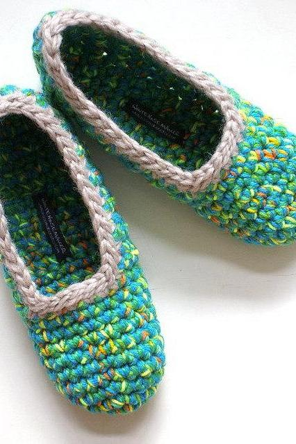Crochet Slippers for Women, Citrus Multicolour, Azure, French Blue, Teal Blue, One Of A Kind