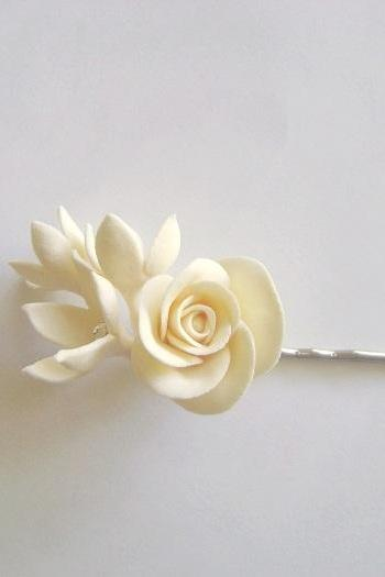 Bridal/Bridesmaid Rose Hair Pin. Wedding Hair Flower. Wedding Ivory Rose Stephanotis Pin