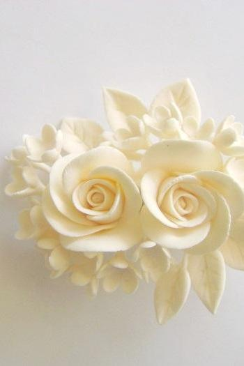 Bridal hair Flower. Clay Wedding Hair Fascinator. Ivory Rose Hair clip. Made-to-Order