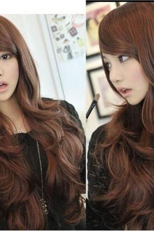 Sexy Women Girls Dark Brown Wavy Curly Long Hair Full Wigs Cosplay Party Wig
