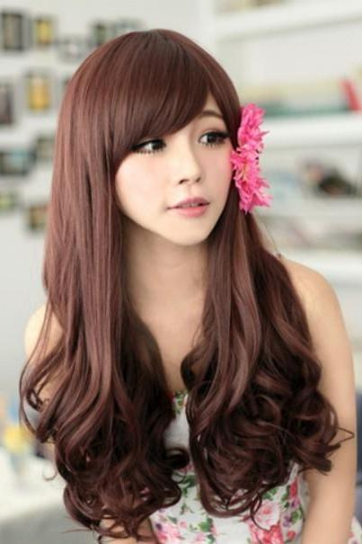 new fashion charming women girl long curly wave brown hair full wigs cosplay wig