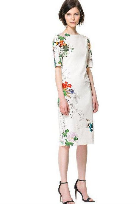 Elegant New Fashion Oriental Flower Print Crew Neck Traditional Style Shift Dress flowerrint Gown