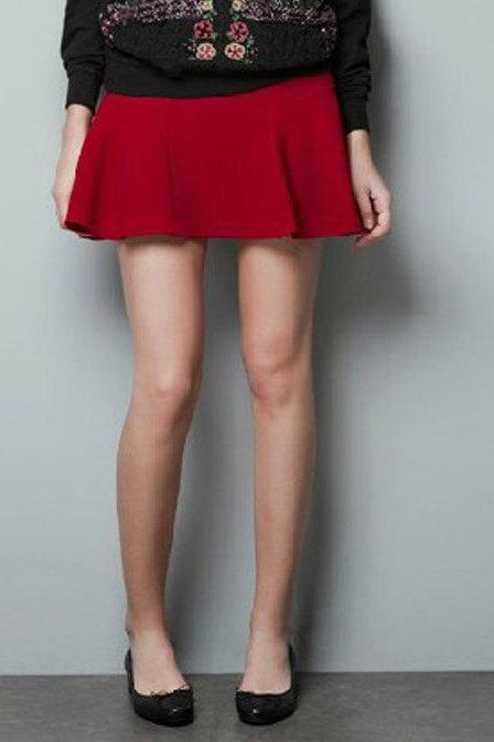 Fashion Women Party Cocktail mini Skater Skirt MiniSkirts Black Or Red