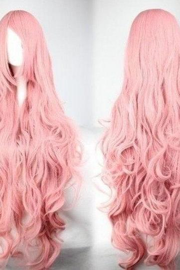 40' Long Curly Wave Pink Wig High Quality Costume Full Hair Cosplay Wigs
